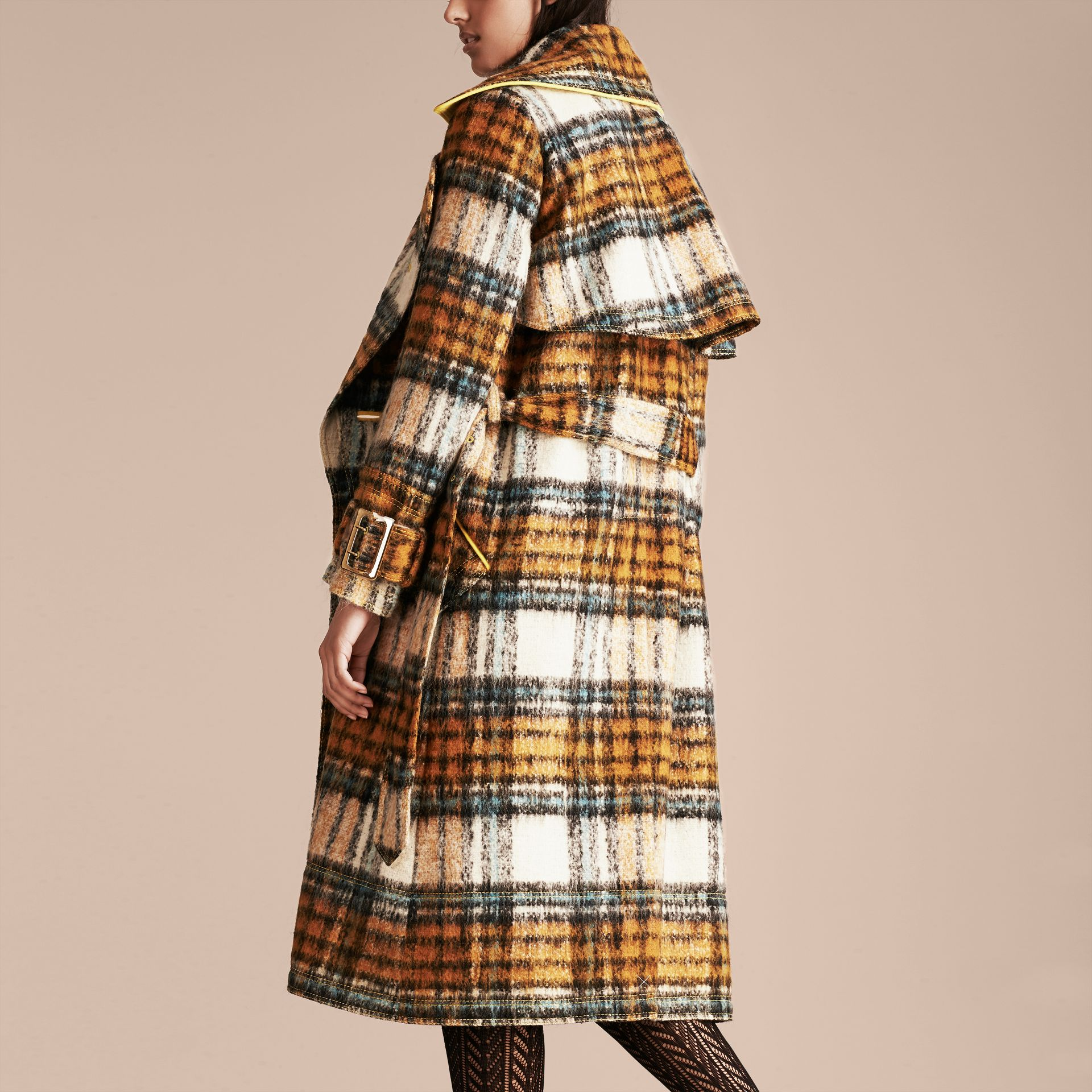Orange amber Tartan Brushed Wool Mohair Coat - gallery image 3
