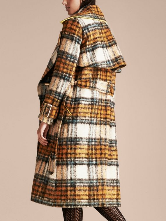 Orange amber Tartan Brushed Wool Mohair Coat - cell image 2