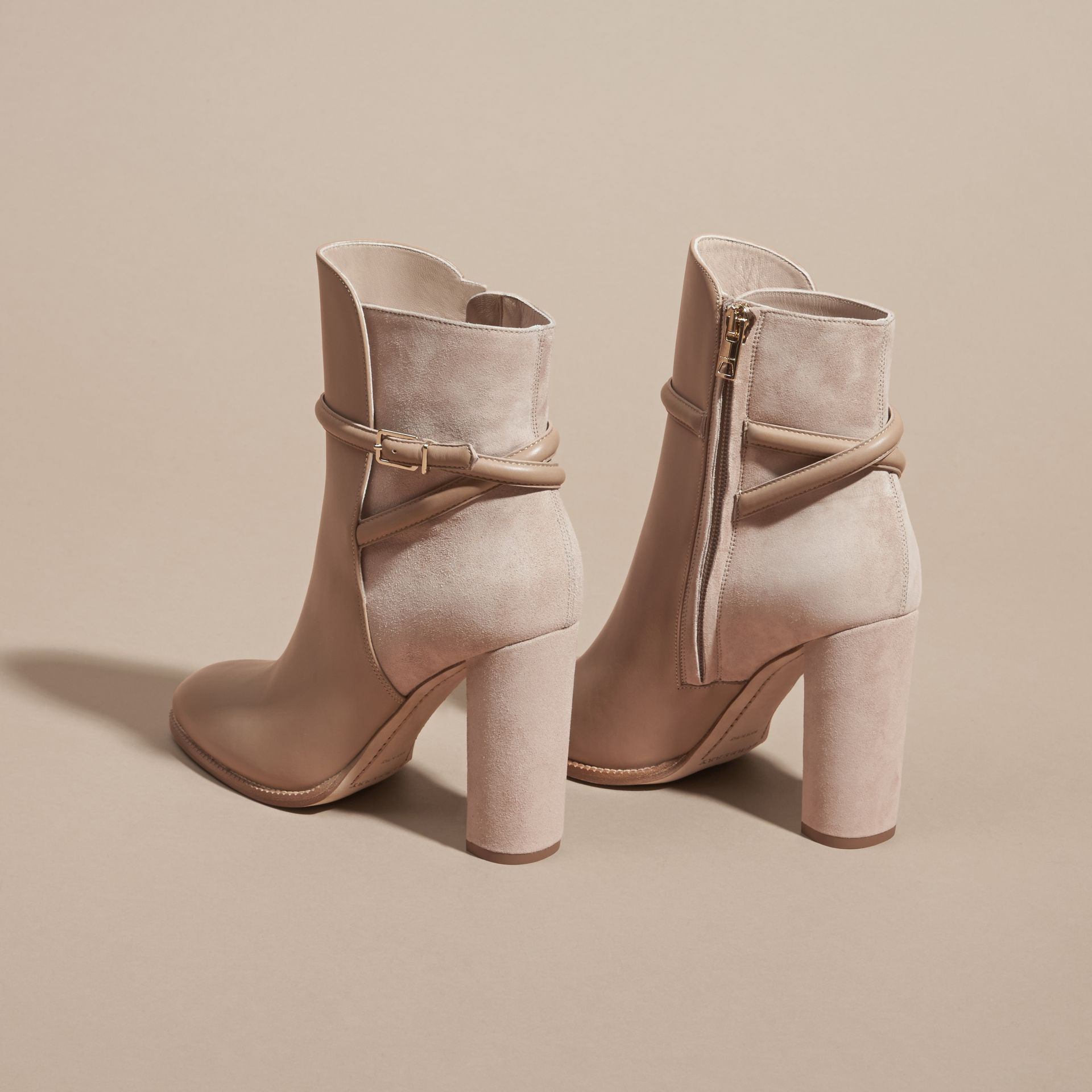Light nude Strap Detail Leather and Suede Ankle Boots Light Nude - gallery image 4