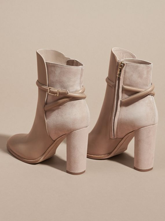 Light nude Strap Detail Leather and Suede Ankle Boots Light Nude - cell image 3