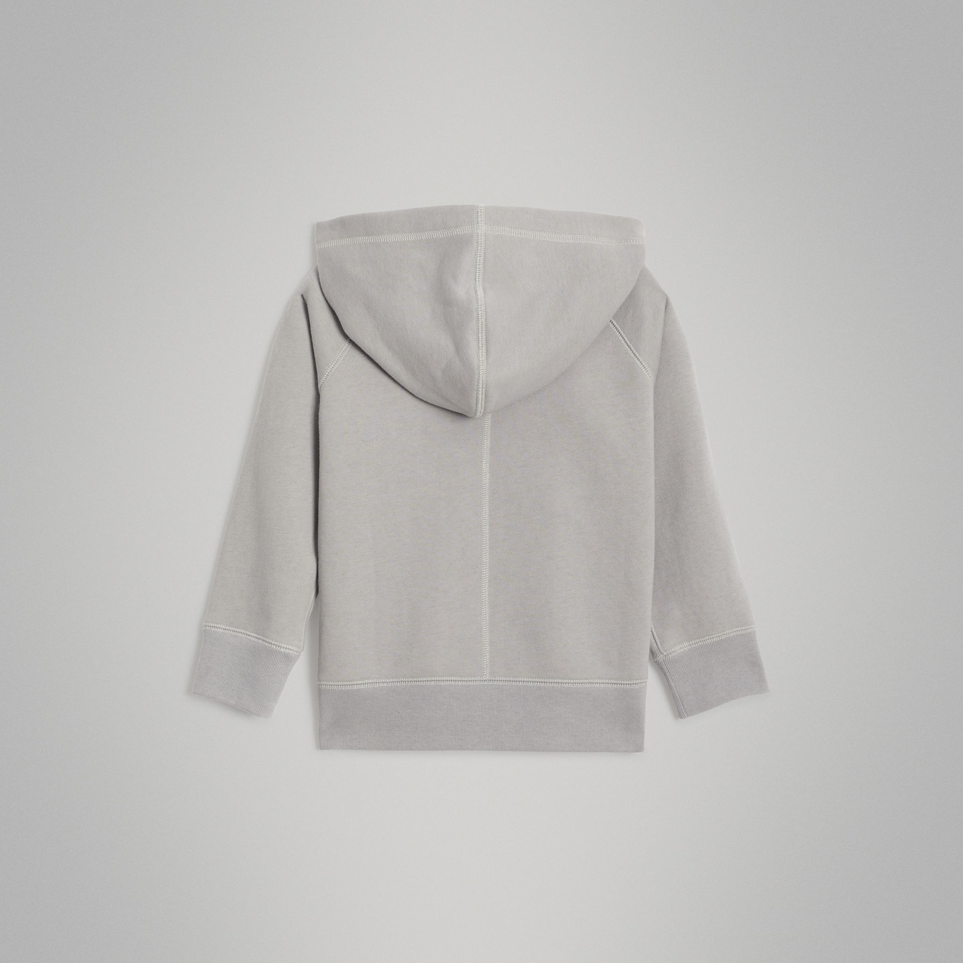 Cotton Jersey Hooded Top in Chalk Grey Melange | Burberry Australia - gallery image 3