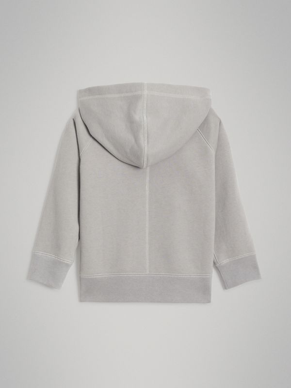 Cotton Jersey Hooded Top in Chalk Grey Melange | Burberry - cell image 3