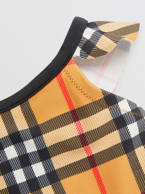 Ruffle Detail Vintage Check Swimsuit in Antique Yellow - Children | Burberry - cell image 1