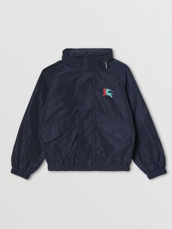 Packaway Hood Shape-memory Taffeta Jacket in Navy