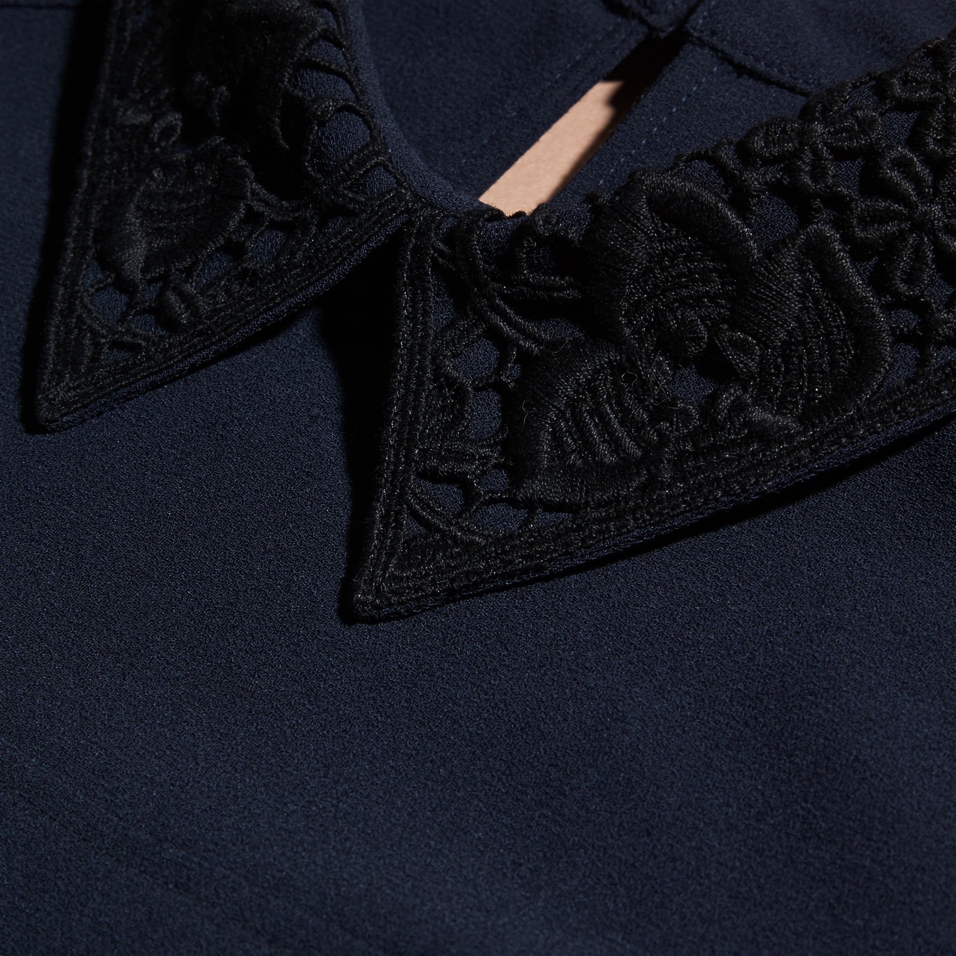 Navy Lace Collar Satin Top - gallery image 2