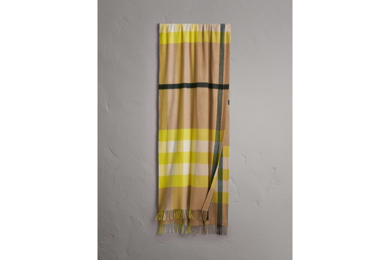 Oversize Check Cashmere Scarf in Bright Lemon