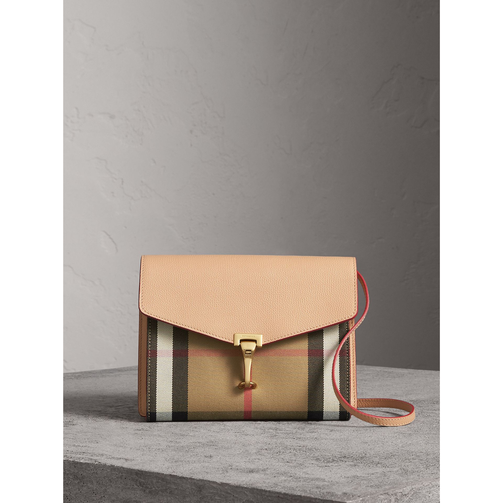 Small Leather and House Check Crossbody Bag in Pale Apricot - Women | Burberry Australia - gallery image 1