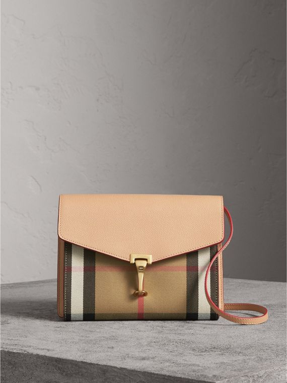 Small Leather and House Check Crossbody Bag in Pale Apricot - Women | Burberry