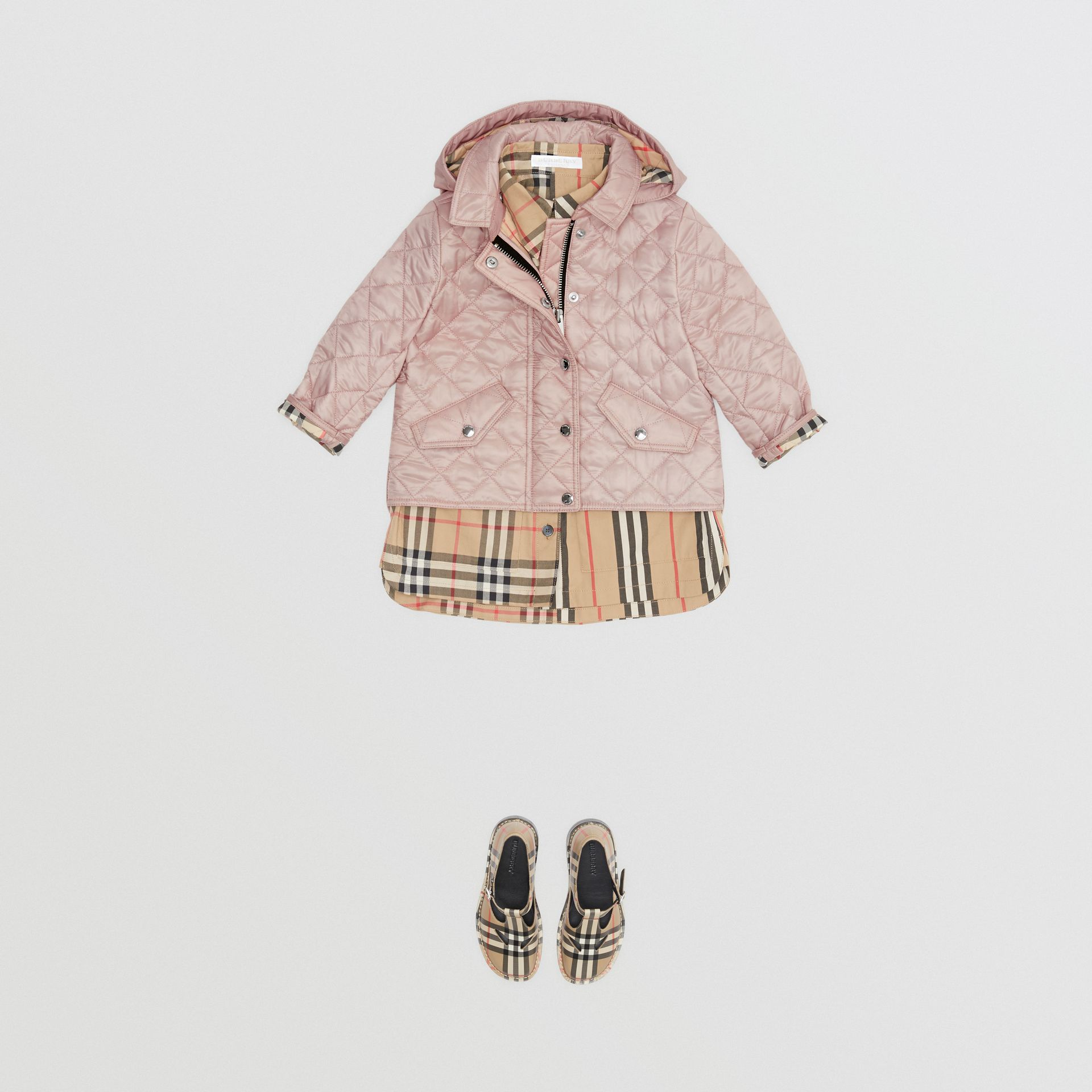 Detachable Hood Diamond Quilted Jacket in Ice Pink - Children | Burberry - gallery image 2