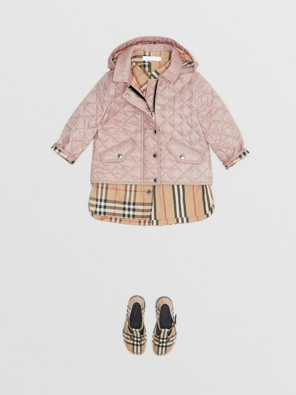 Detachable Hood Diamond Quilted Jacket in Ice Pink - Children | Burberry - cell image 2