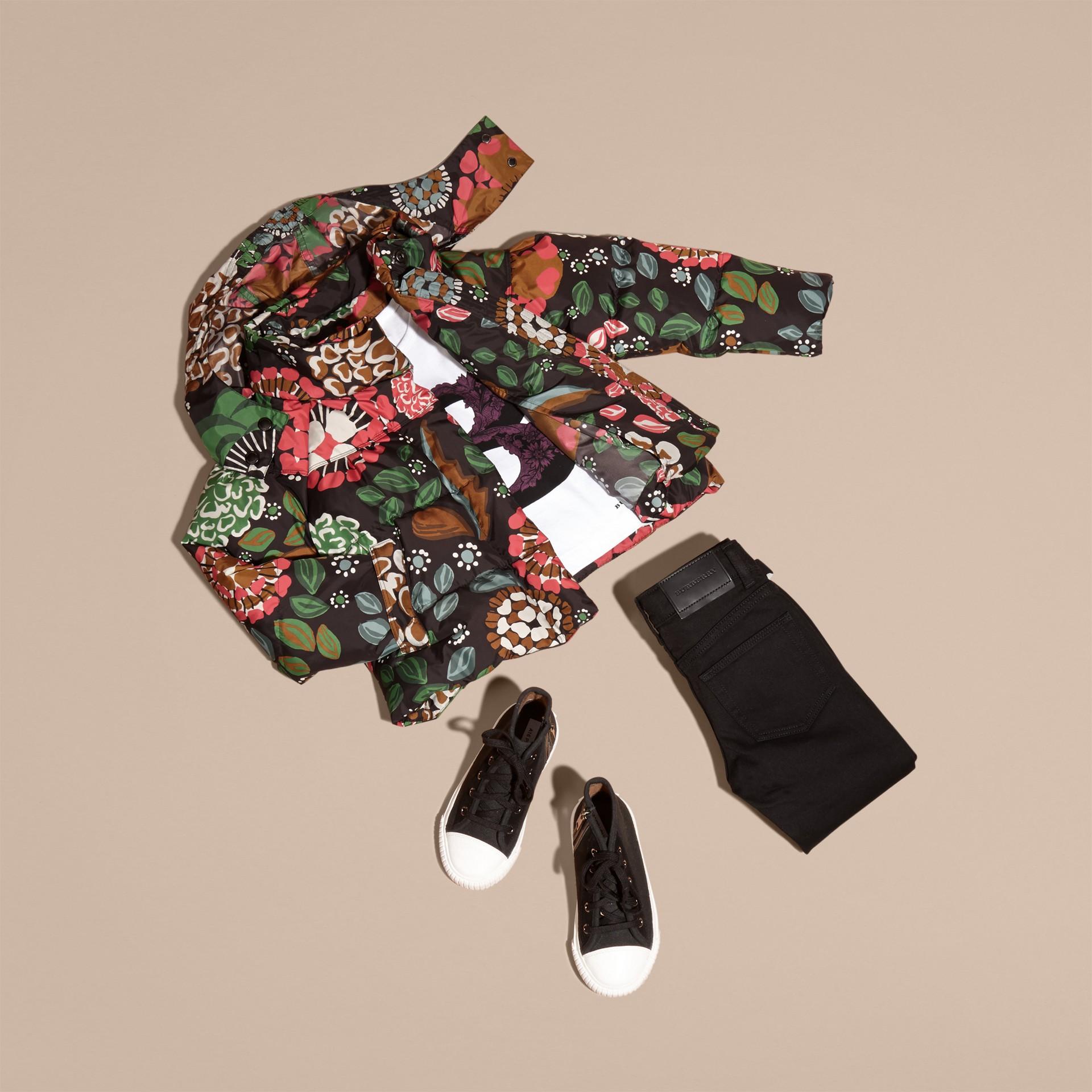 Vert sauge Doudoune longue à imprimé floral avec capuche repliable - photo de la galerie 5