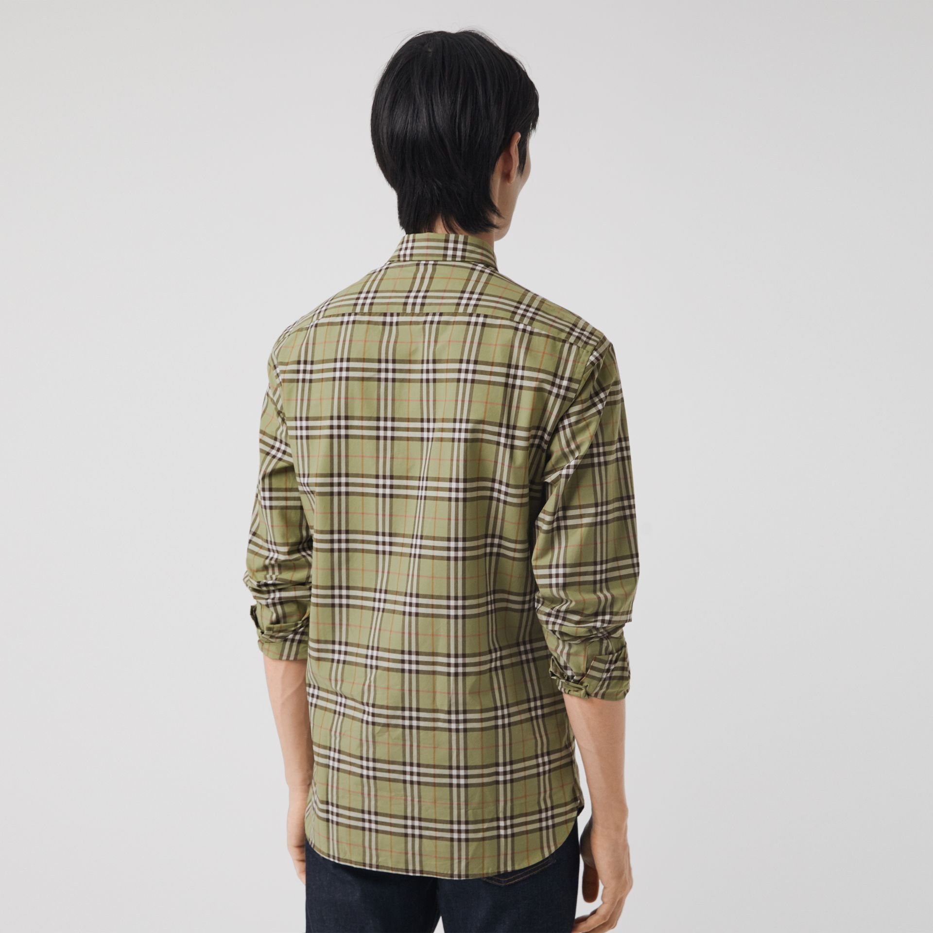 Check Cotton Shirt in Pale Powdr Green - Men | Burberry Canada - gallery image 2