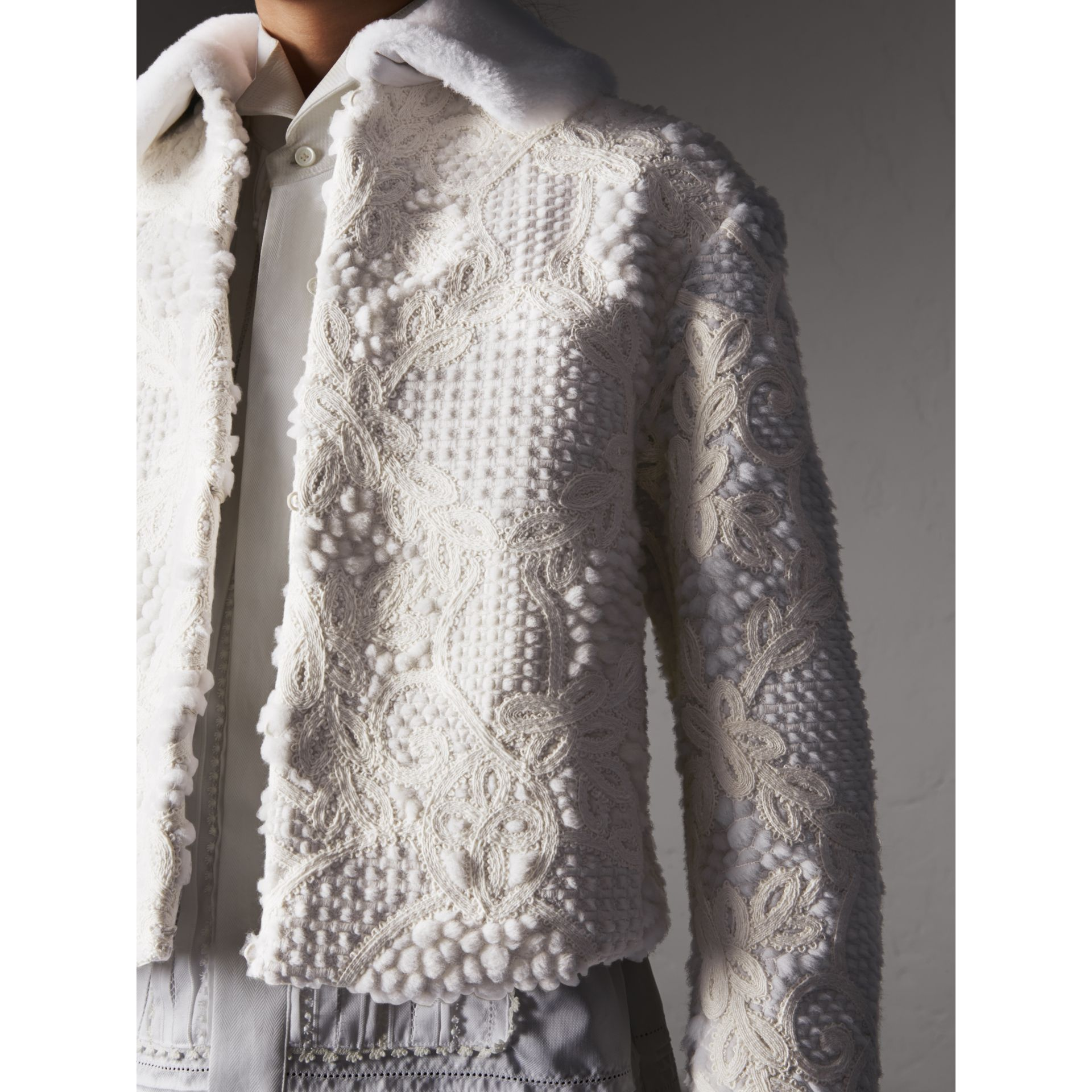 Macramé Lace-embellished Shearling Jacket in White - Women | Burberry - gallery image 4