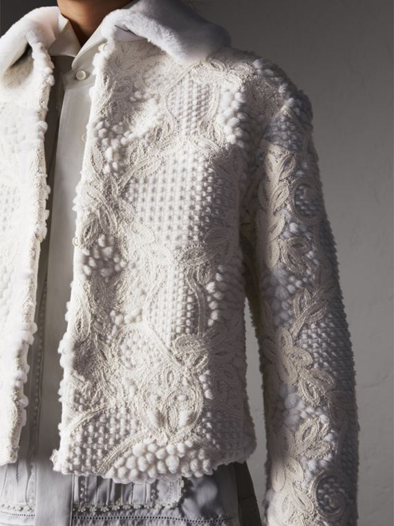 Macramé Lace-embellished Shearling Jacket in White - Women | Burberry Australia - cell image 3