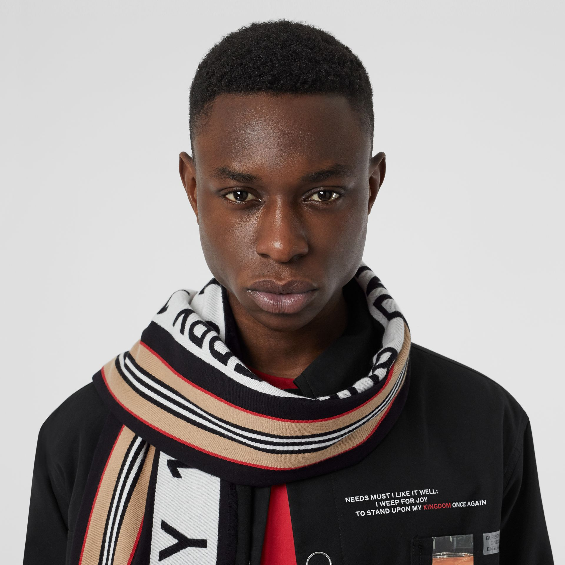 Icon Stripe Logo Detail Cotton Scarf in Black | Burberry Australia - gallery image 3
