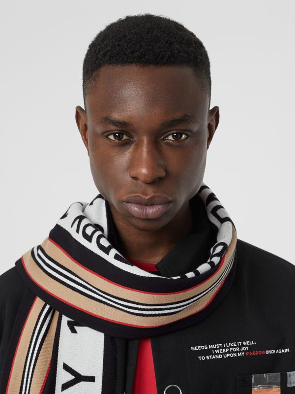 Icon Stripe Logo Detail Cotton Scarf in Black | Burberry Australia - cell image 3