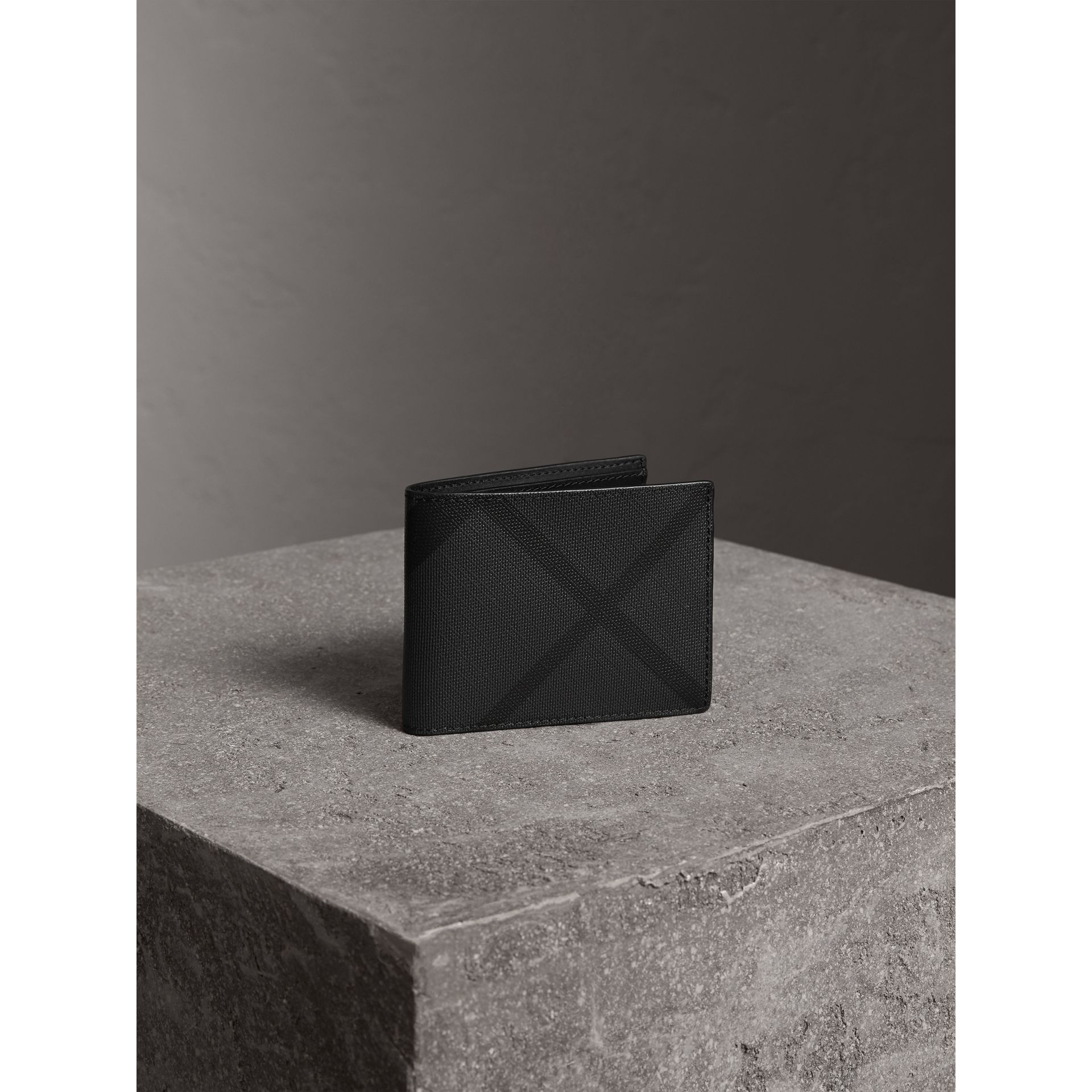 London Check Bifold Wallet in Charcoal/black - Men | Burberry - gallery image 1