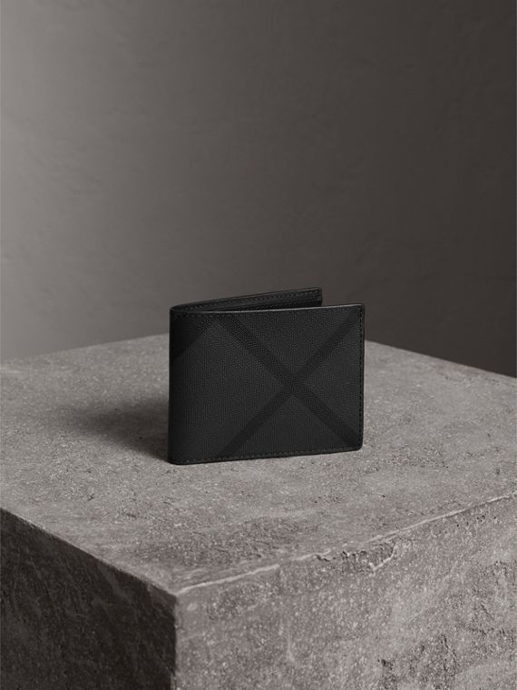 London Check Bifold Wallet in Charcoal/black