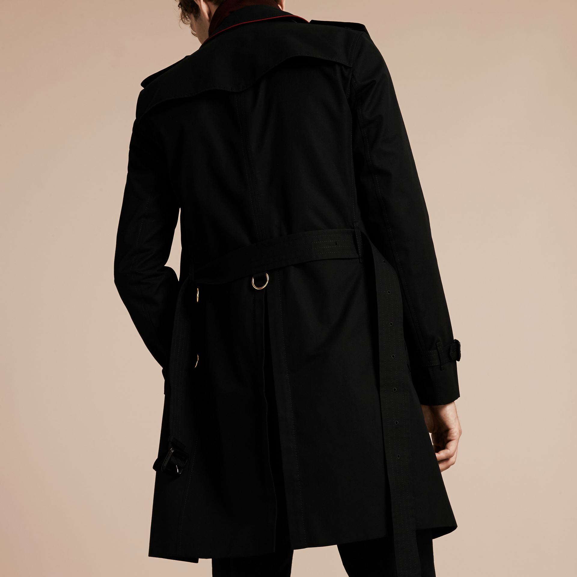 Black Military Detail Cotton Trench Coat - gallery image 3
