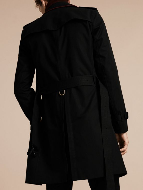 Black Military Detail Cotton Trench Coat - cell image 2