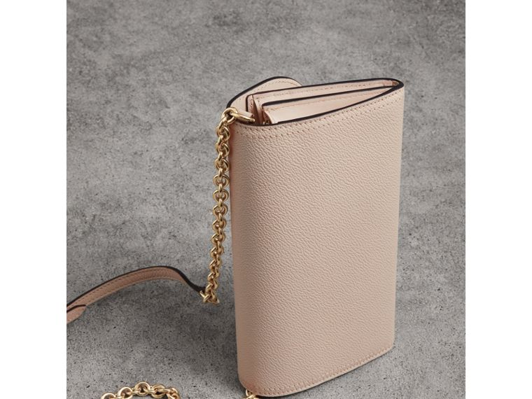 Leather Wallet with Chain in Limestone - Women | Burberry Singapore - cell image 4
