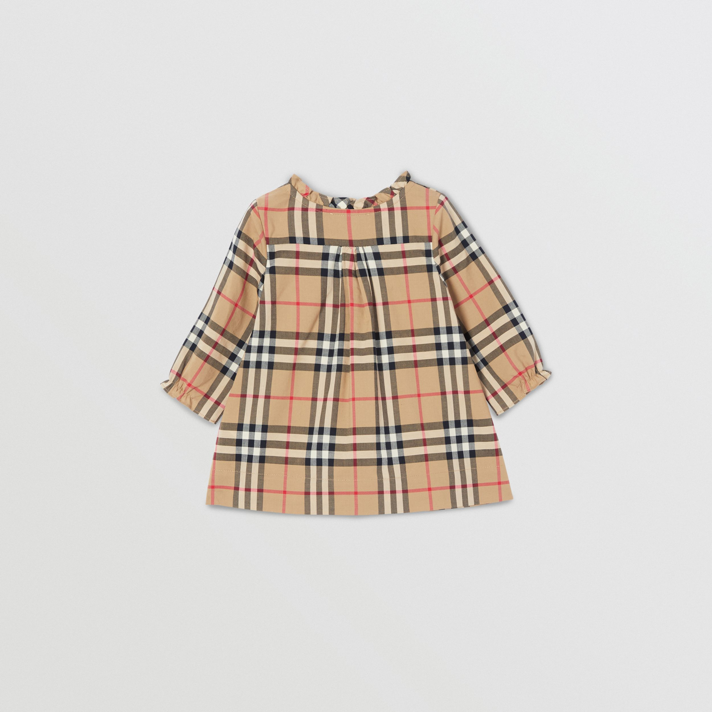 Vintage Check Cotton Dress with Bloomers in Archive Beige - Children | Burberry - 4
