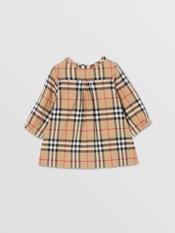 Vintage Check Cotton Dress with Bloomers in Archive Beige - Children   Burberry United Kingdom - cell image 3