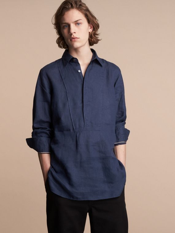Bib Detail Linen Tunic Shirt - Men | Burberry