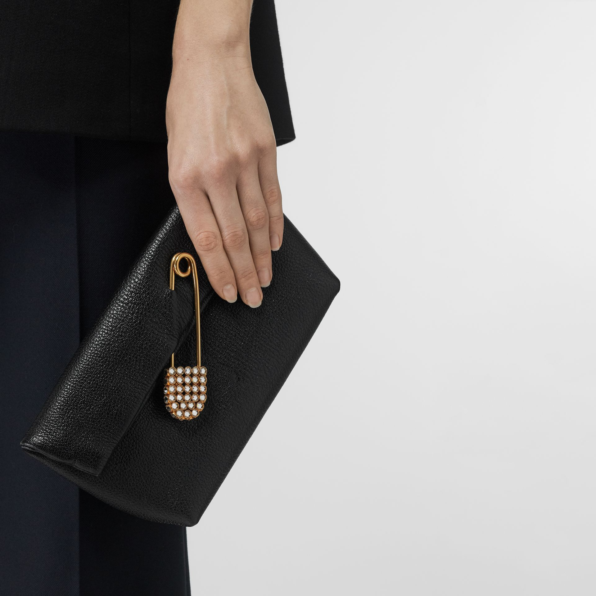 The Small Pin Clutch in Leather in Black - Women | Burberry - gallery image 2