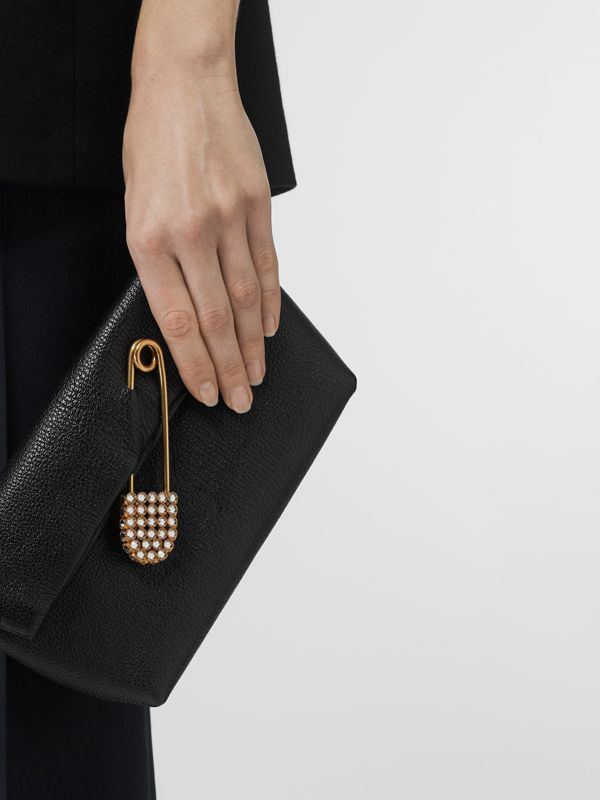 The Small Pin Clutch in Leather in Black - Women | Burberry - cell image 2