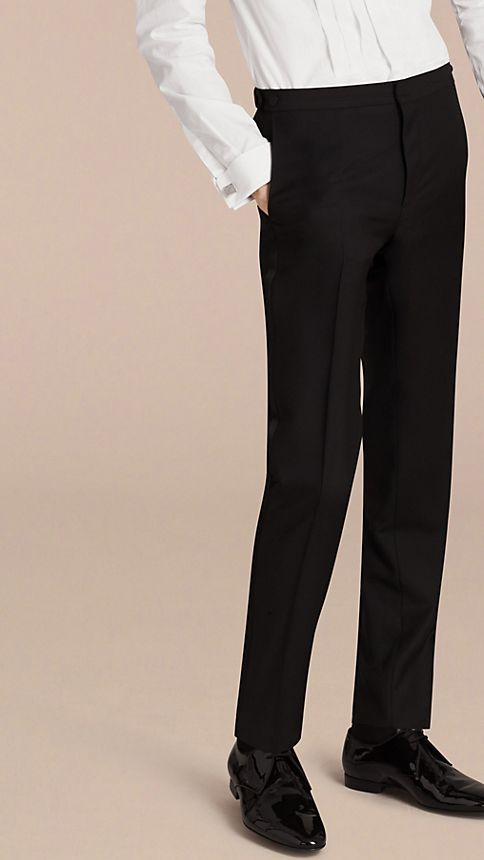 Black Slim Fit Wool Mohair Half-canvas Tuxedo - Image 7