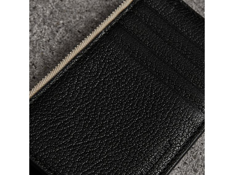 Two-tone Leather Zip Card Case in Black | Burberry Australia - cell image 1