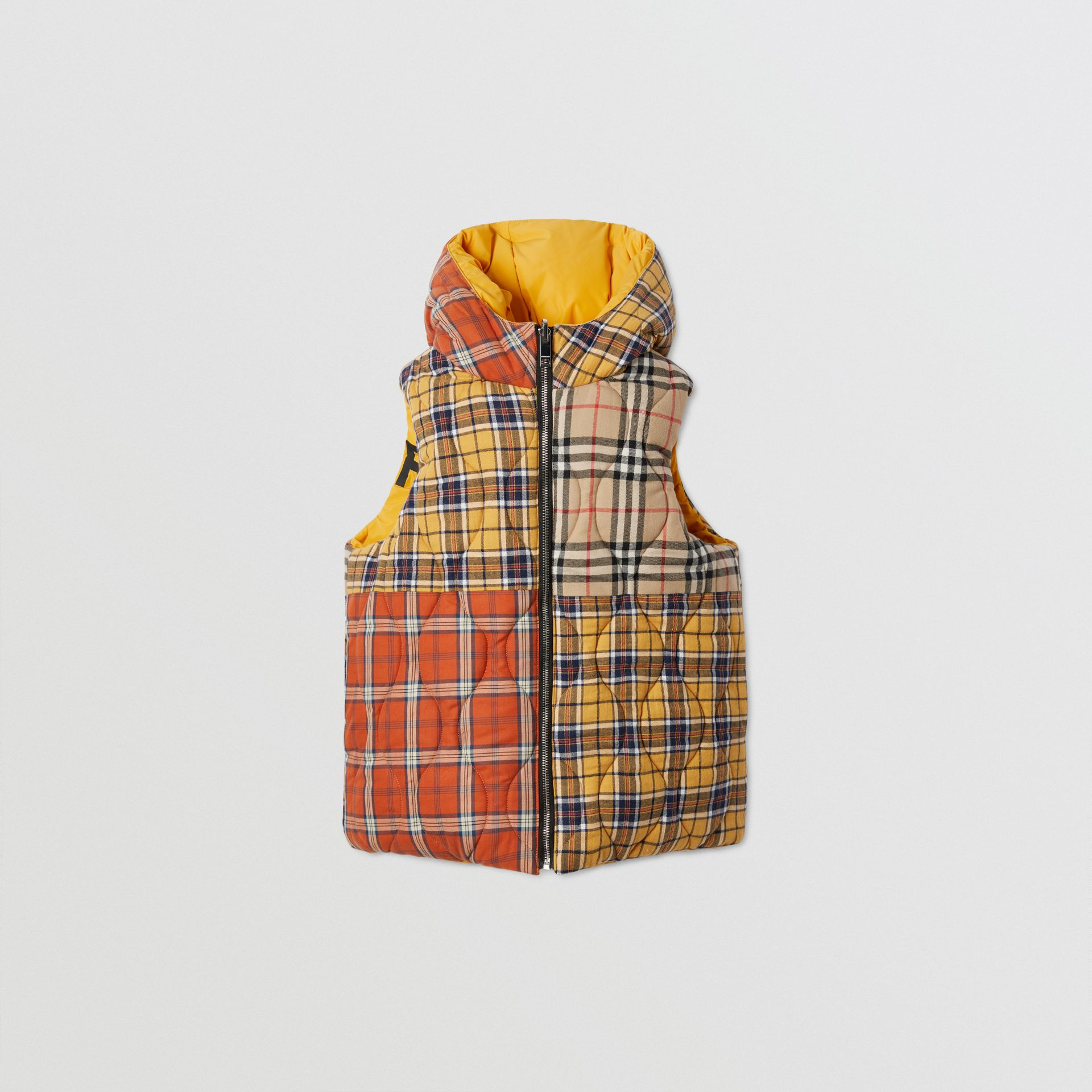 Reversible Horseferry Print Shape-memory Taffeta Gilet in Souwester Yellow | Burberry - gallery image 7