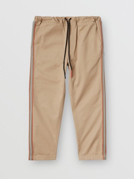 標誌性條紋細節設計棉質工作褲 (蜜金色)
