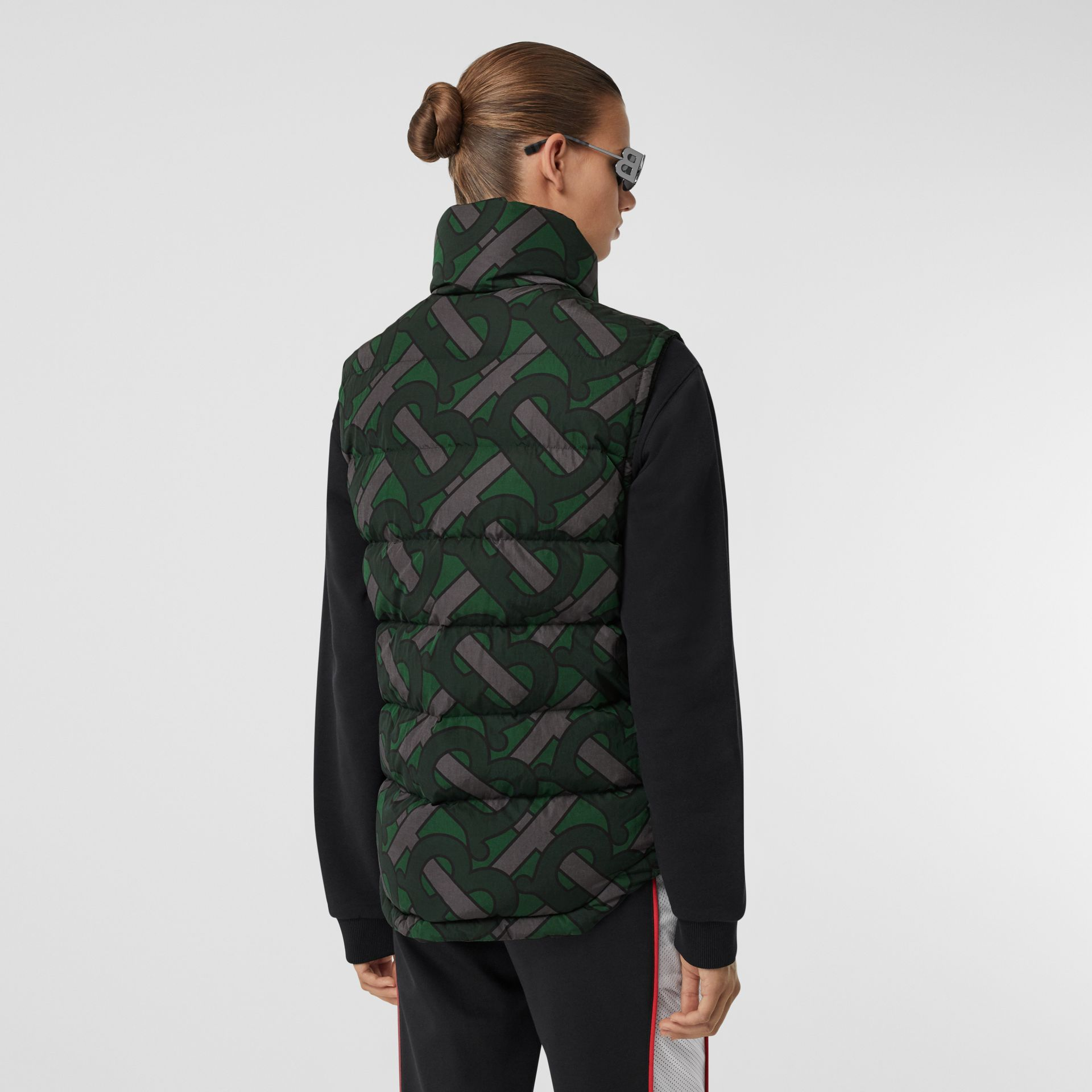 Monogram Print Puffer Gilet in Forest Green | Burberry Canada - gallery image 7