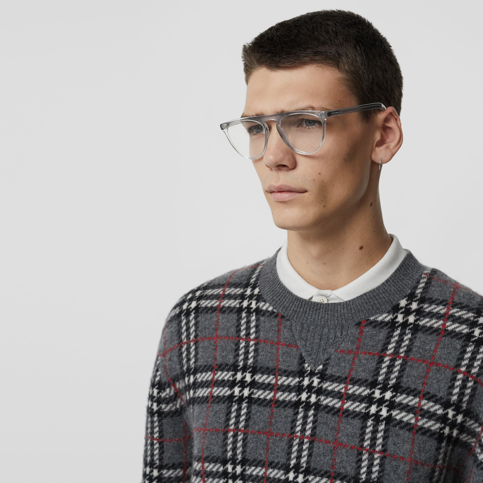 Keyhole D-shaped Optical Frames in Grey - Men | Burberry - gallery image 2