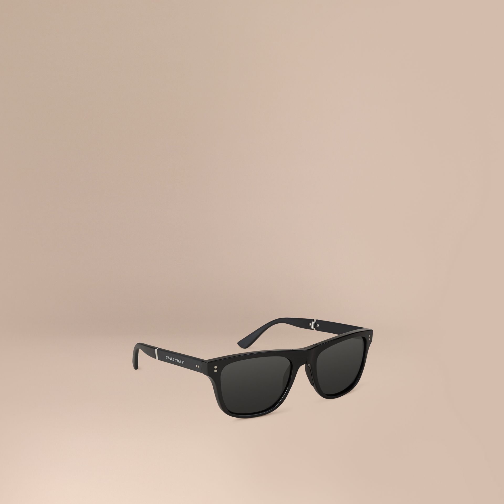 Folding Rectangular Frame Sunglasses in Black - Men | Burberry United Kingdom - gallery image 0