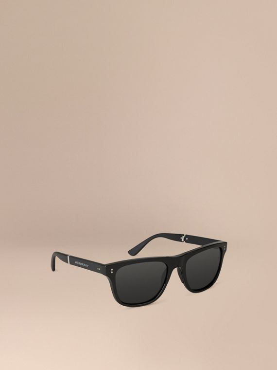Folding Rectangular Frame Sunglasses in Black - Men | Burberry