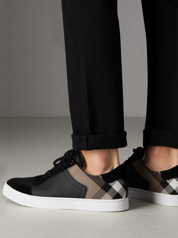Leather and House Check Sneakers in Black - Men | Burberry - cell image 2
