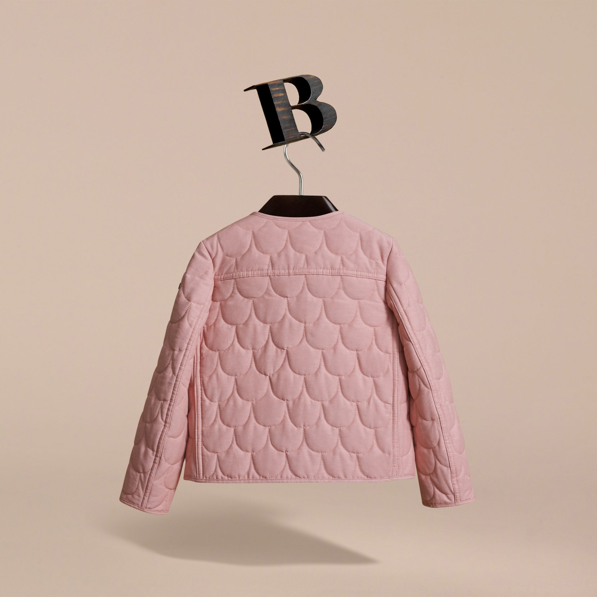 Collarless Scallop-quilted Jacket in Pale Rose | Burberry Australia - gallery image 4
