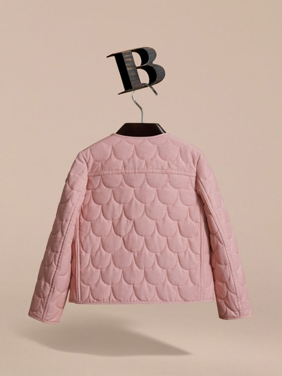 Collarless Scallop-quilted Jacket in Pale Rose | Burberry Australia - cell image 3