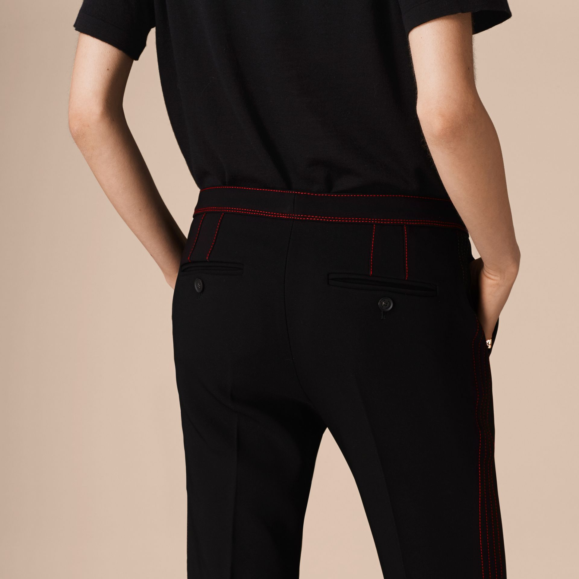 Black Stretch Boot-cut Trousers - gallery image 5