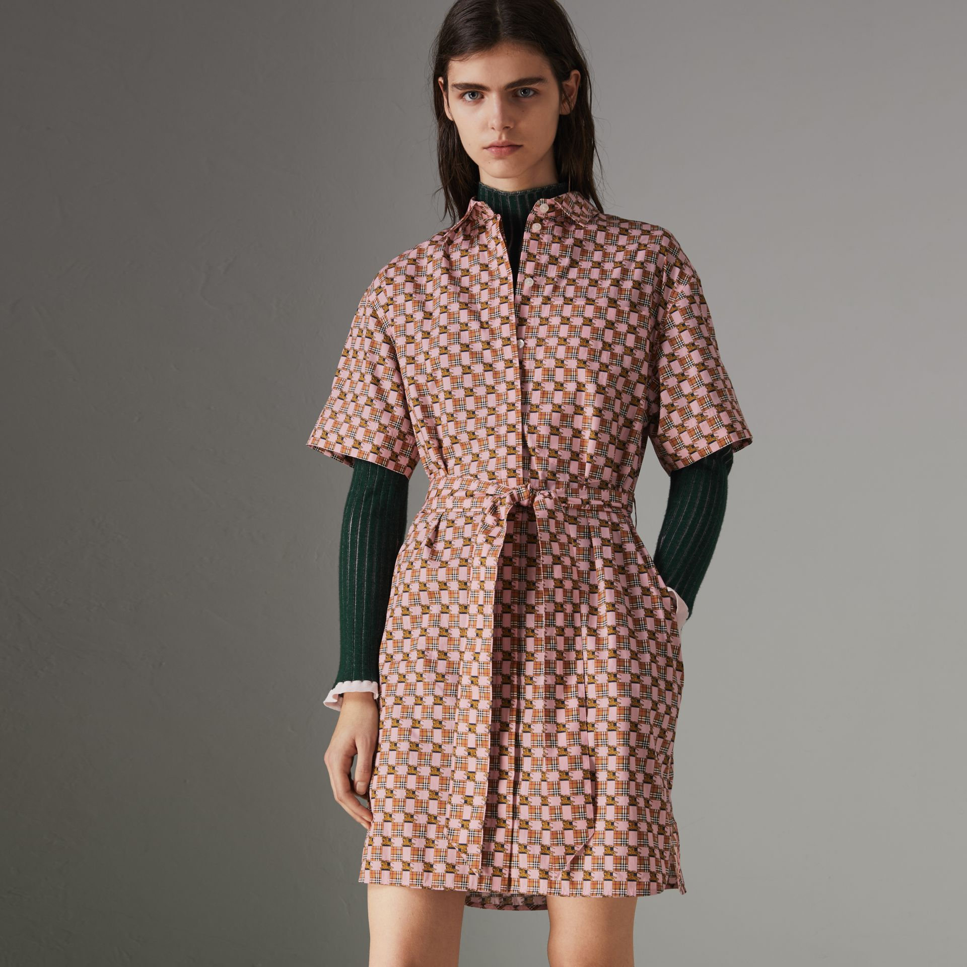 Tiled Archive Print Cotton Shirt Dress in Pink - Women | Burberry - gallery image 0