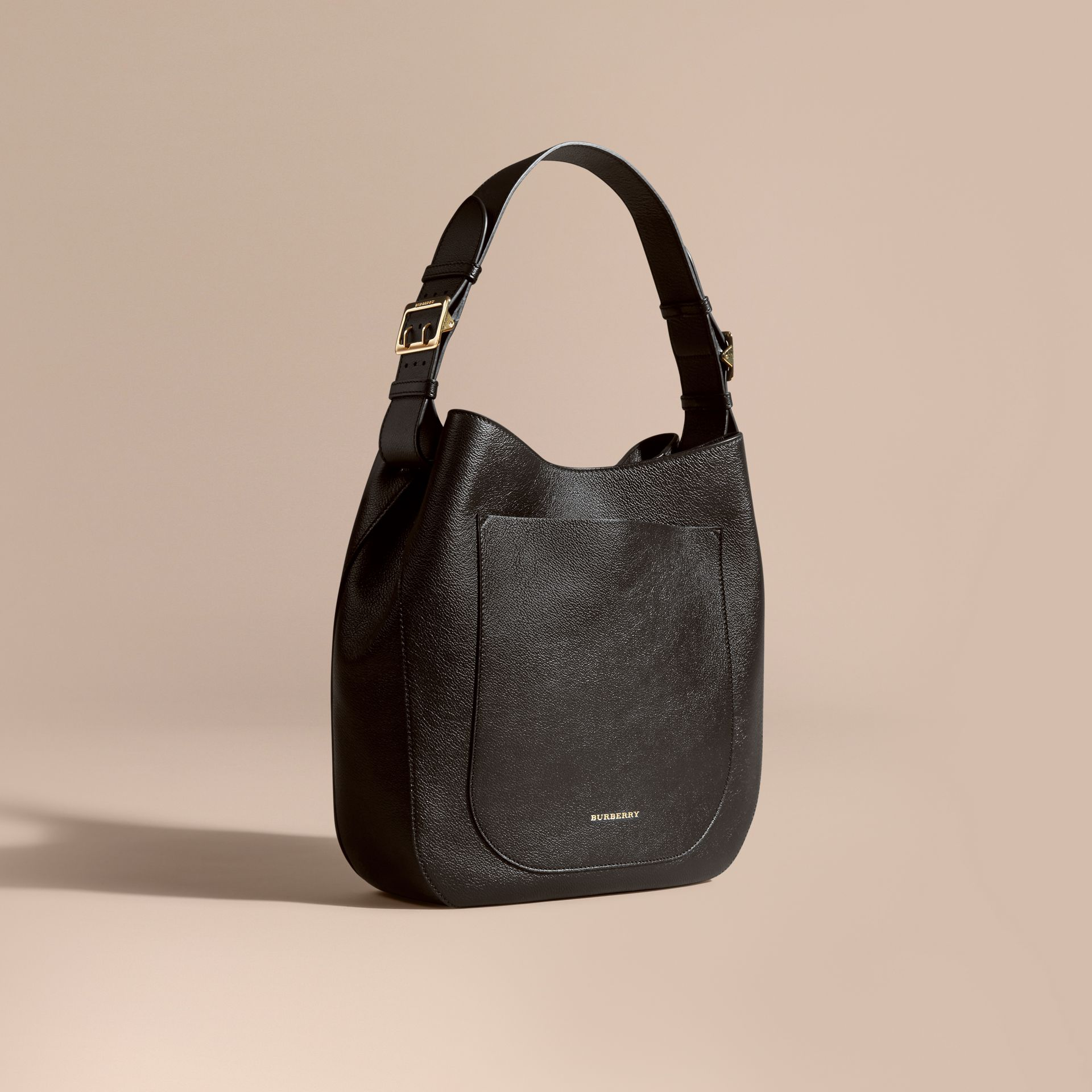 Textured Leather Shoulder Bag in Black - gallery image 1