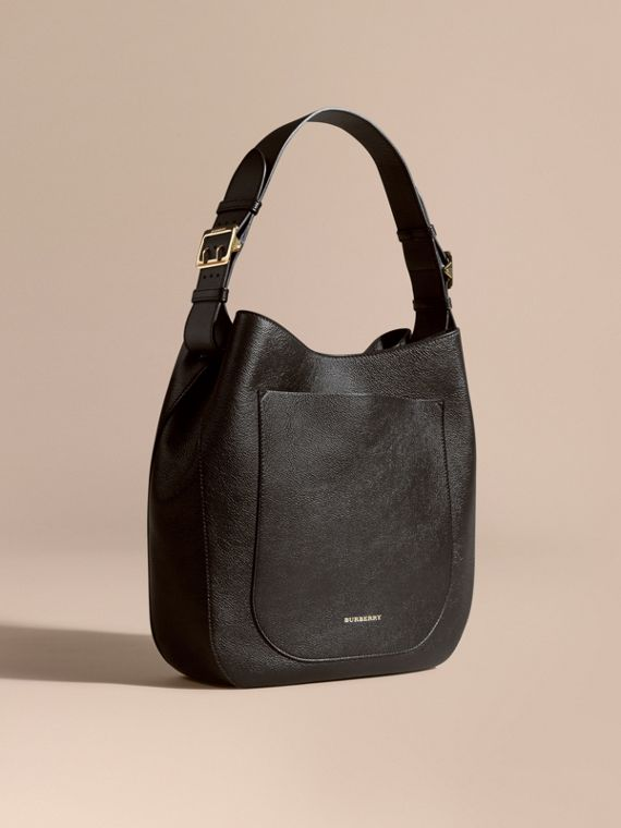 Textured Leather Shoulder Bag Black