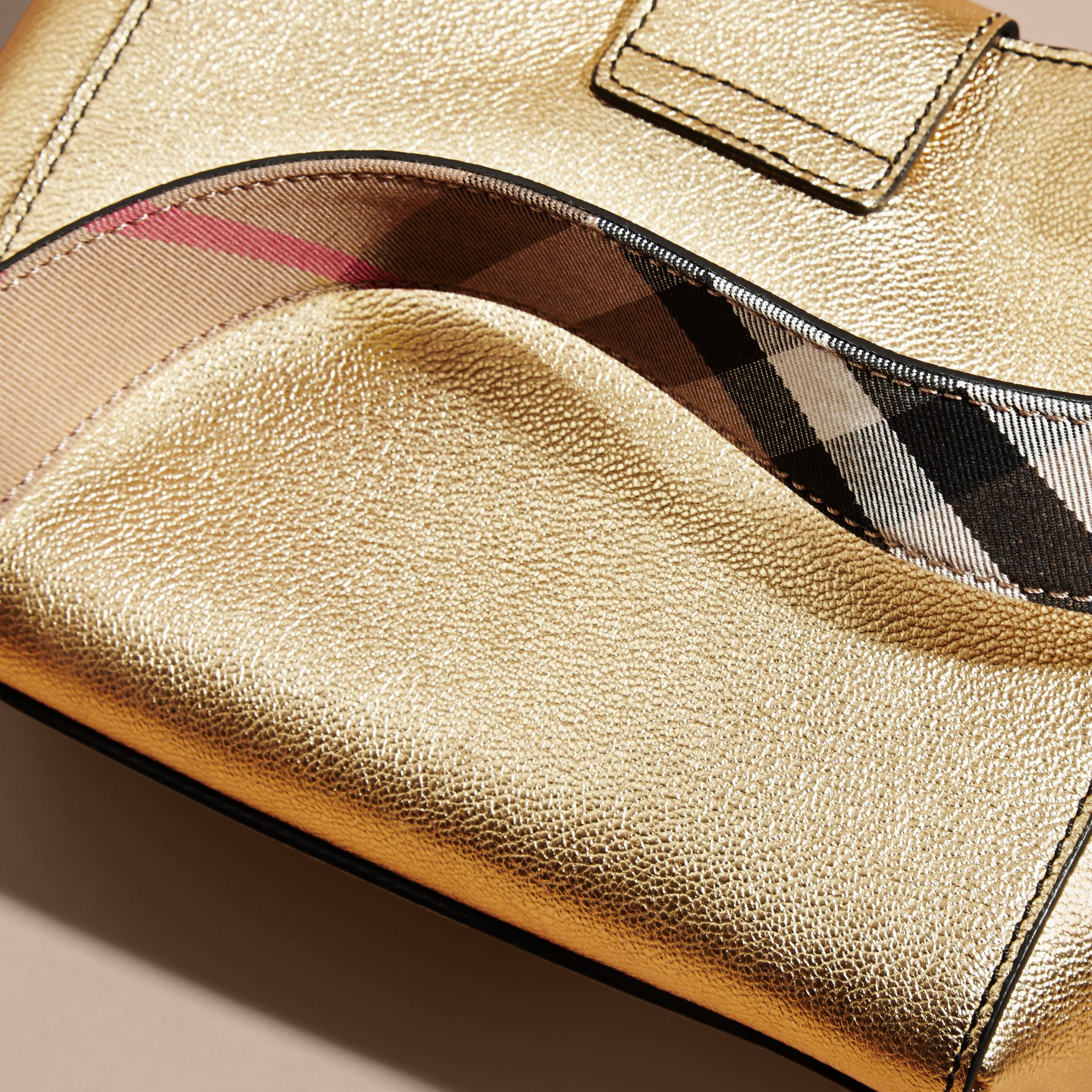 Gold The Small Buckle Tote in Metallic Leather - gallery image 7