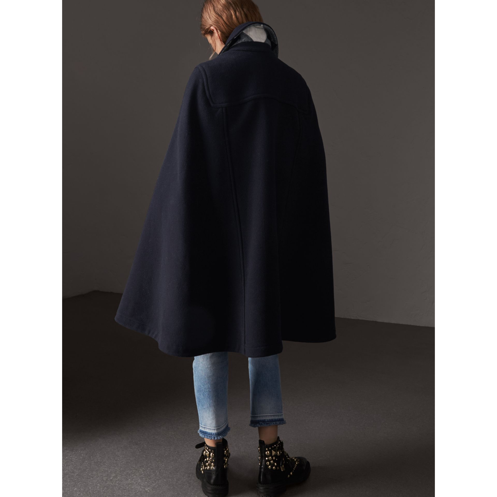 Double-faced Wool Blend Duffle Cape in Navy - Women | Burberry Australia - gallery image 2