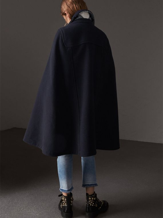 Double-faced Wool Blend Duffle Cape in Navy - Women | Burberry Australia - cell image 2