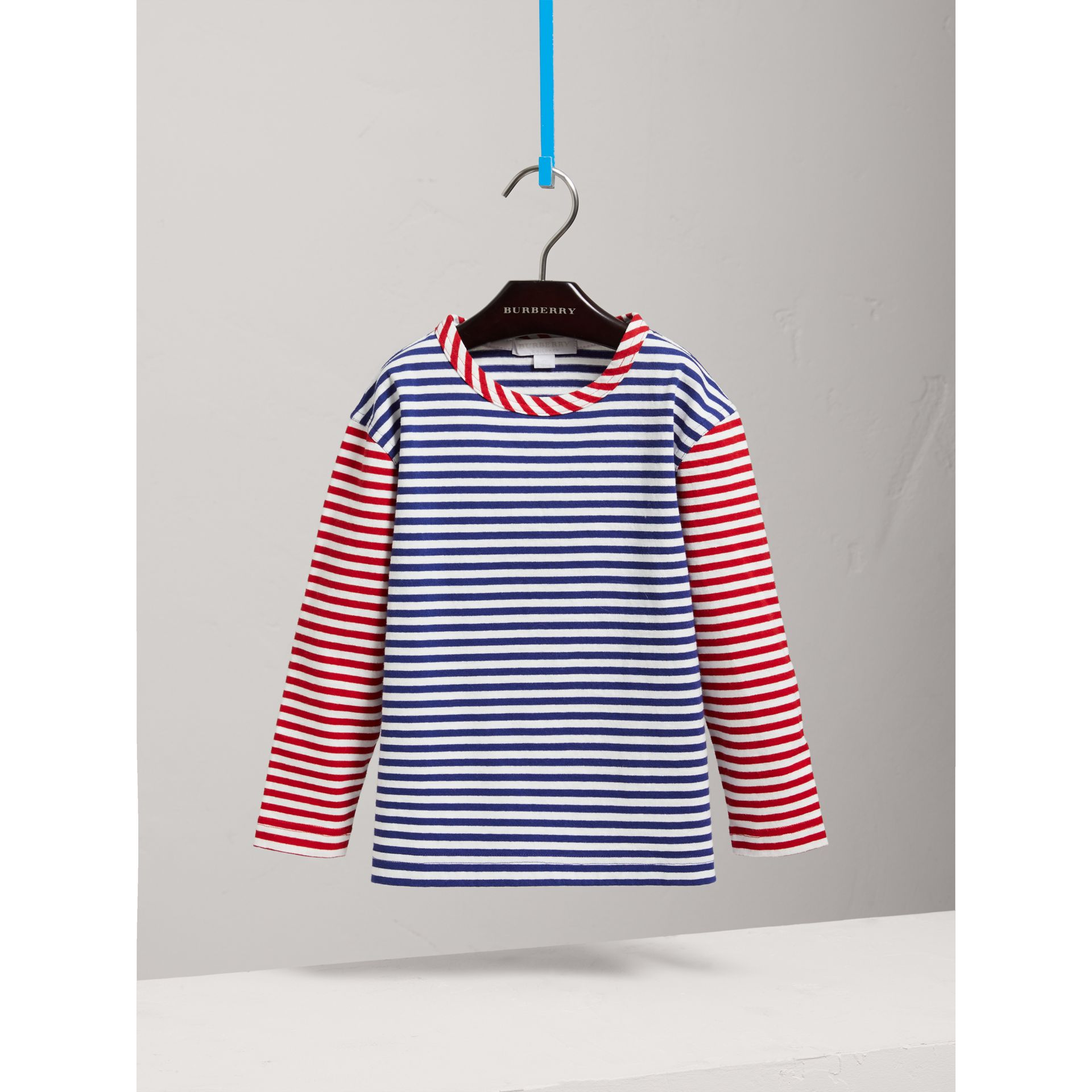 Contrast Stripe Cotton Top in Cobalt Blue - Girl | Burberry - gallery image 0