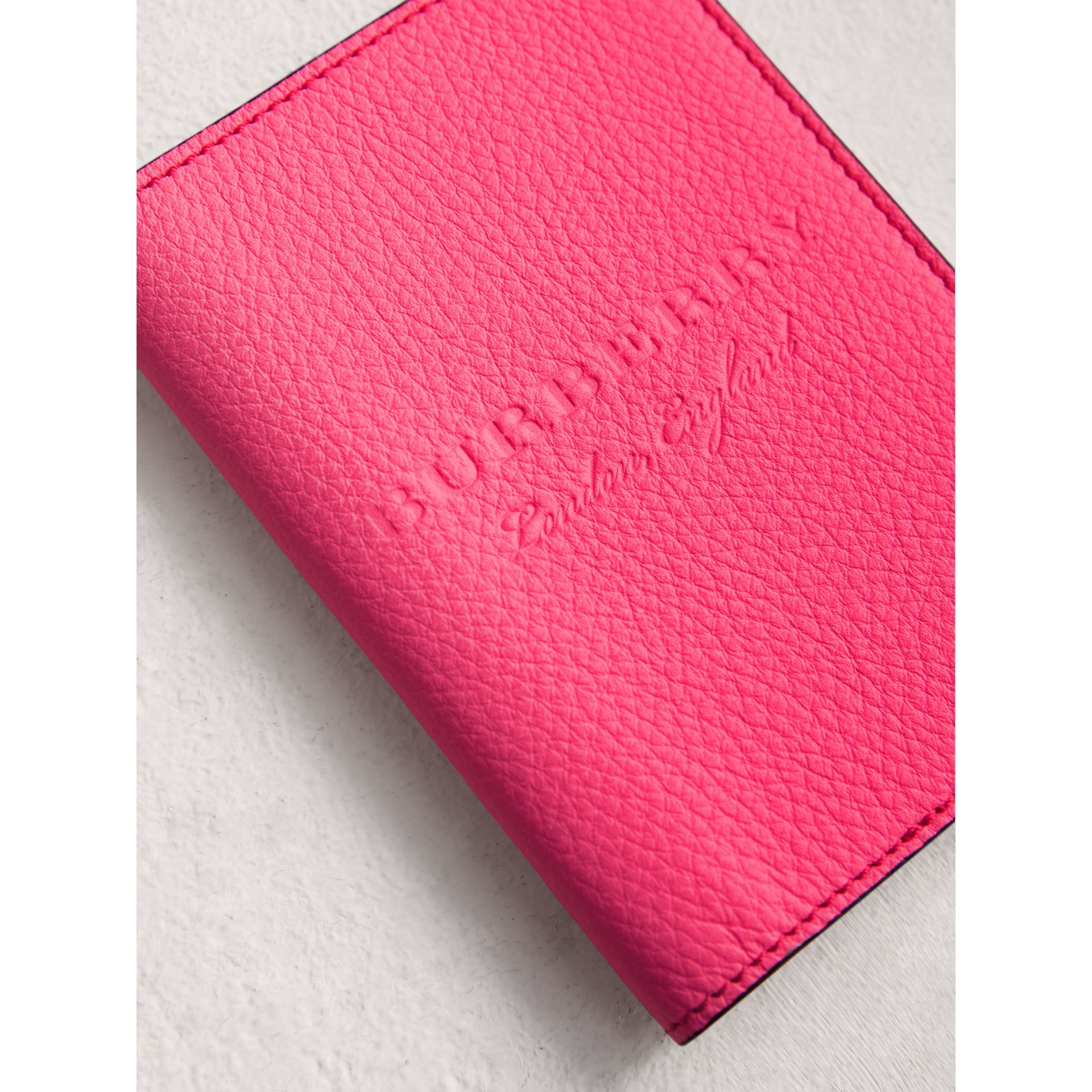 Embossed Leather Passport Holder in Bright Pink | Burberry - gallery image 1